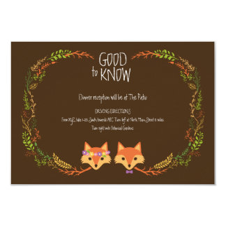 Whimsical Woodland Foxes Wedding Information Card