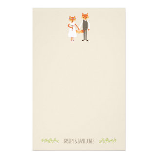 Whimsical Woodland Foxes Wedding Personalized Stationery