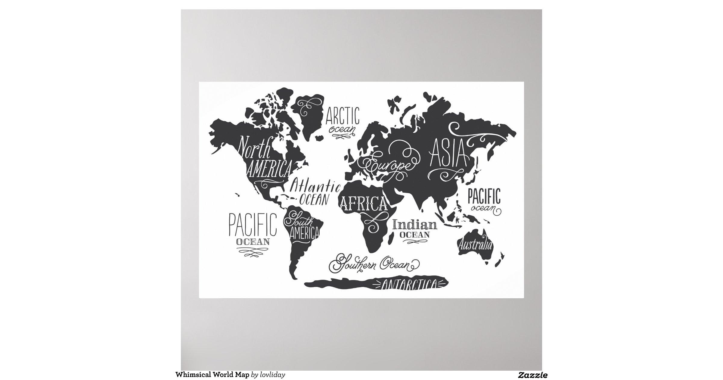 Black World Map Poster Whimsical World Map Poster