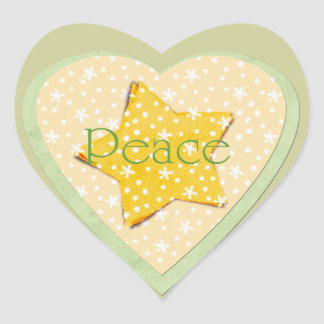 Whimsical Yellow Stars Peace Sticker