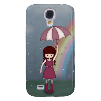 Whimsical Young Girl Standing in Colorful Rain Galaxy S4 Case