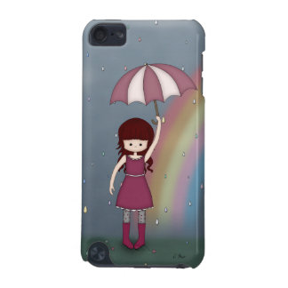 Whimsical Young Girl Standing in Colourful Rain iPod Touch 5G Cover