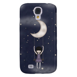 Whimsical Young Girl Swinging on the Moon Galaxy S4 Case