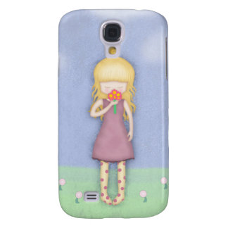 Whimsical Young Girl with Bouquet of Flowers Galaxy S4 Case