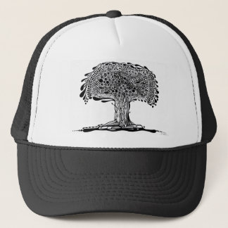 Whimsy tree Black and White Trucker Hat