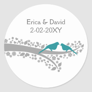 whimsy tree blue lovebirds wedding favour stickers
