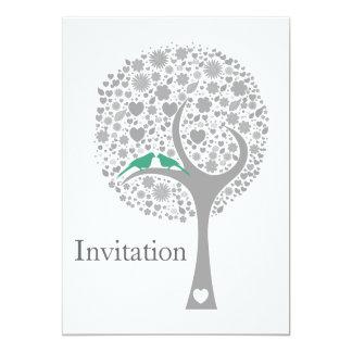 whimsy tree mint lovebirds mod wedding invites