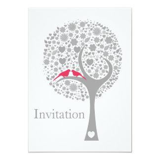 whimsy tree pink lovebirds mod wedding invites