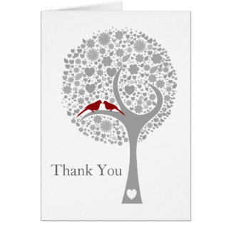 whimsy tree red lovebirds mod wedding Thank You Card