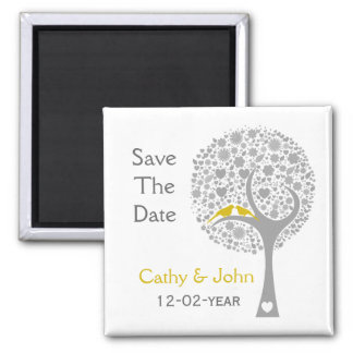 whimsy tree yellow lovebirds mod save the date magnets