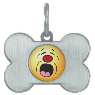 Whining Smiley Face Grumpey Pet Name Tag