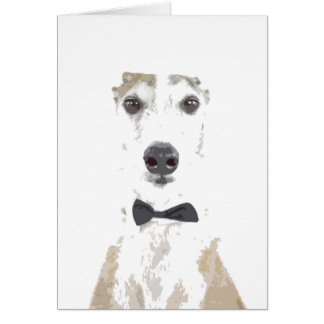 whippet bowtie cut out design greeting card