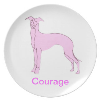 Whippet Courage Cancer Awareness Plate