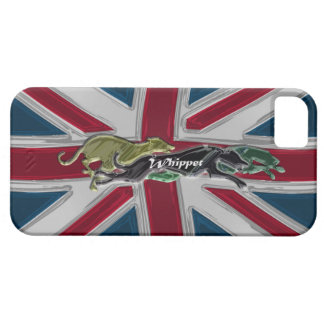 Whippet running on Union Jack iPhone 5 Cases