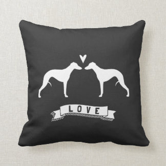 Whippet Silhouettes Love Throw Pillow
