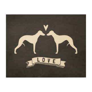 Whippet Silhouettes Love Wood Print