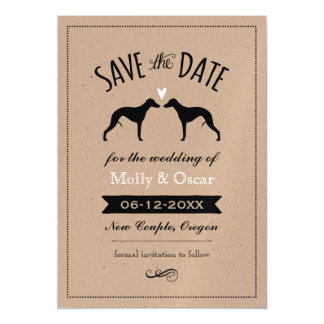 Whippet Silhouettes Wedding Save the Date Magnetic Invitations