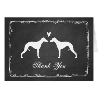 Whippet Silhouettes Wedding Thank You Card