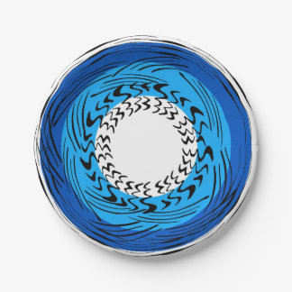 Whirly Blue Paper Plates