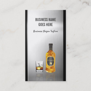 Liquor stores business cards zazzle nz whiskey liquor store brushed stainless steel metal business card reheart Images