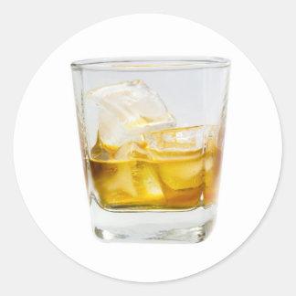 Whiskey on the rocks round sticker