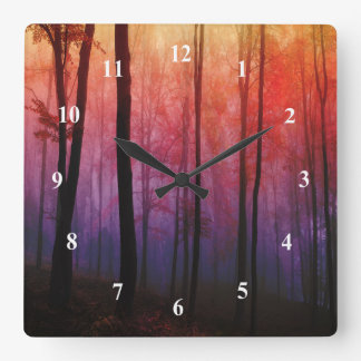 Whispering Woods Trees Forest Landscape Art Square Wall Clock