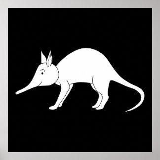 White Aardvark. Cute animal. Poster