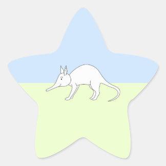 White Aardvark. Cute animal. Star Sticker