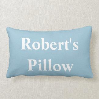 WHITE ALPHABET on BLUE pillow