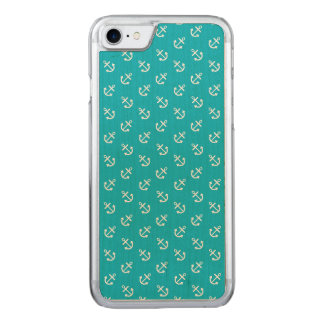 White Anchors Scuba Blue Background Pattern Carved iPhone 8/7 Case