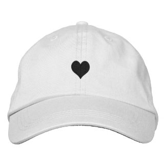 White and Black Heart Embroidered Hat