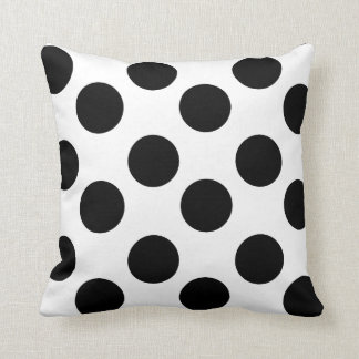 White and Black Large Polka Dot Accent Pillow Cushions