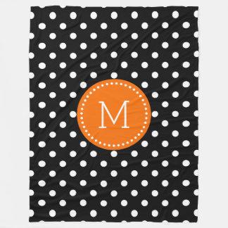 White And Black Polkadot Orange Accents Fleece Blanket