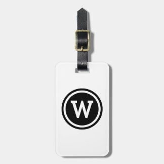 White and Black Ringed Circle Monogram Bag Tag