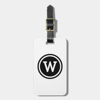 White and Black Ringed Circle Monogram Bag Tag