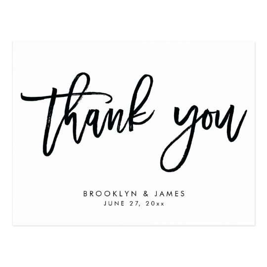 White And Black Wedding Thank You Postcards Zazzle