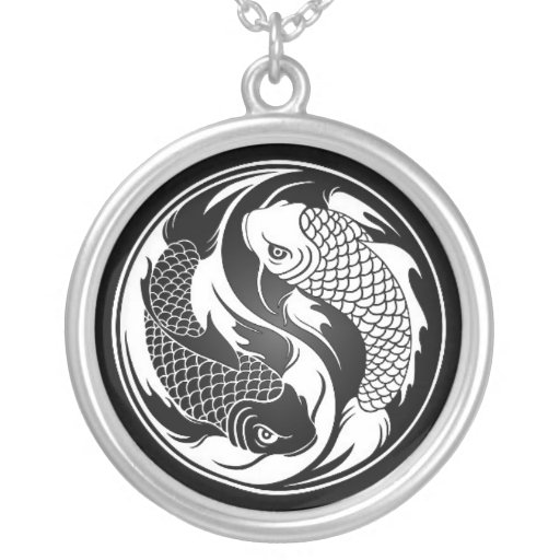 White and Black Yin Yang Koi Fish Pendant