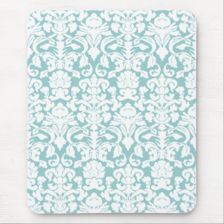 White and Blue Damask Mouse Pad