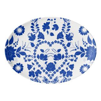 White and Blue European Folk Art Serving Platter