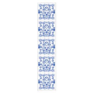 White and Blue European Folk Art Table Runner