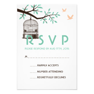 White and Blue Wedding RSVP Card Vintage BirdCage