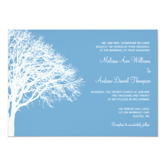 White and Blue Winter Oak Wedding Card