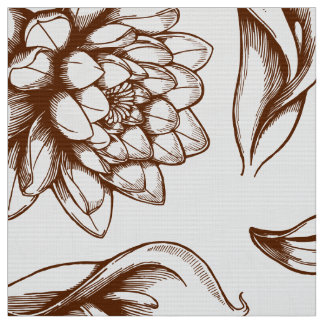 White And Brown Vintage Flowers Drawing Fabric