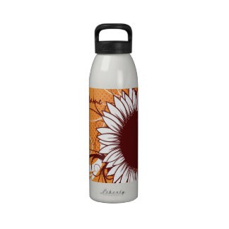 White and Burgundy Flower on Orange Reusable Water Bottles