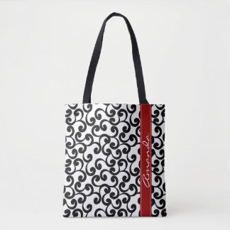 White and Ebony Monogrammed Elements Print Tote Bag