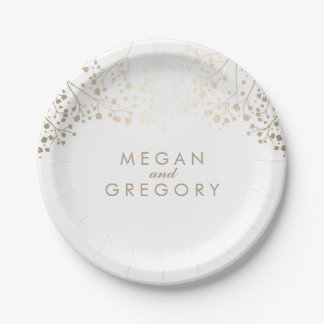 White and Gold Baby's Breath Wedding 7 Inch Paper Plate