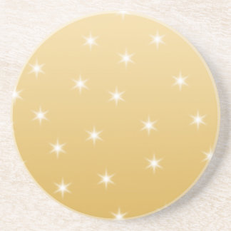 White and Gold Color Star Pattern Coaster
