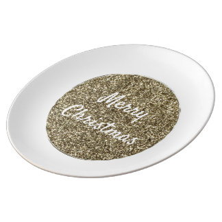 White and Gold Glitter Christmas Typography Plate
