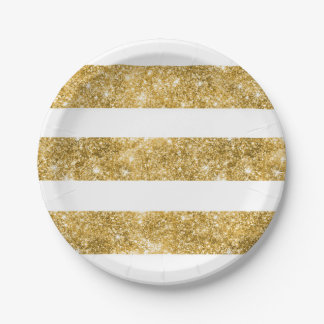 White and Gold Glitter Stripes Wedding 7 Inch Paper Plate