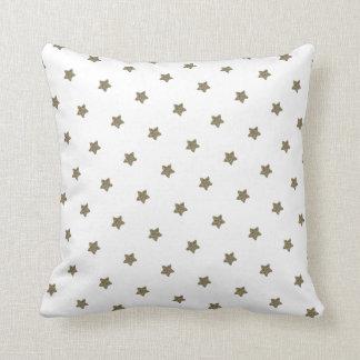 White and Gold Look Stars Pattern Elegant Cushion